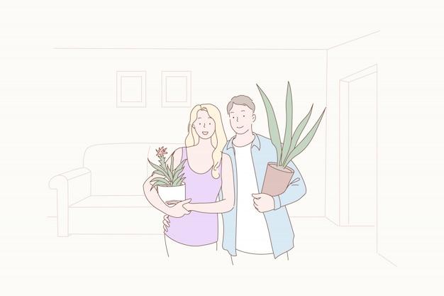 Озеленение, комфорт, совместное, семья, новоселье, иллюстрация.