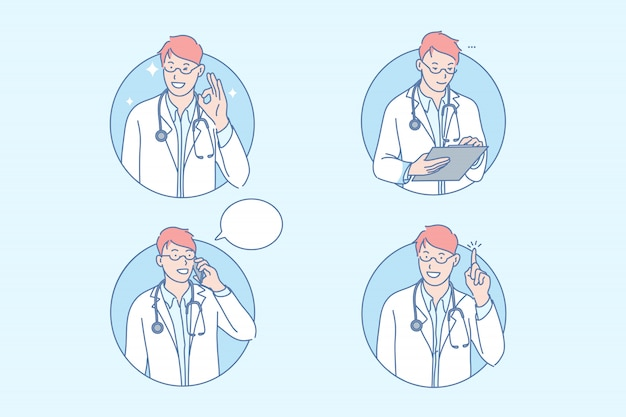 医学、医者、医療、療法、セット
