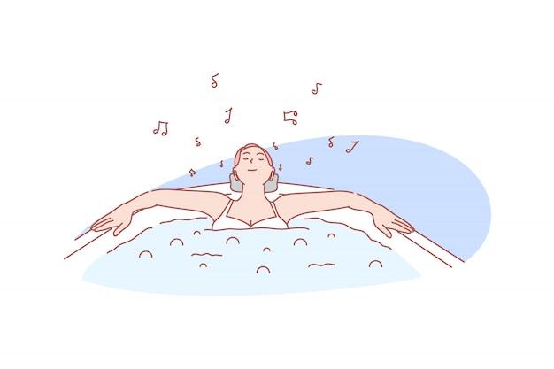 Расслабьтесь, удовольствие, купание, спа, иллюстрация