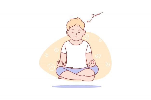 子供、空中浮揚、ヨガ、瞑想、健康、イラスト