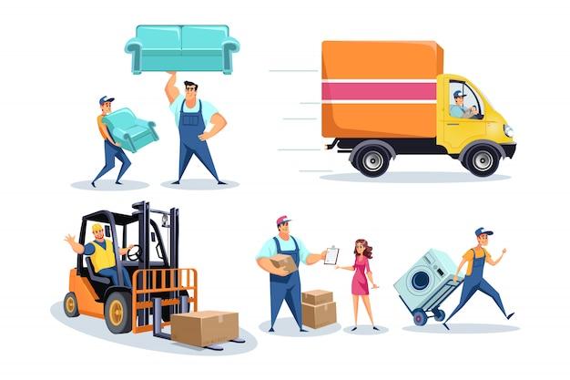 Переезд, рабочие по доставке мебели, люди, перемещающие вещи