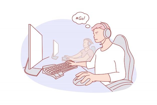Команда, киберспорт, игровая иллюстрация