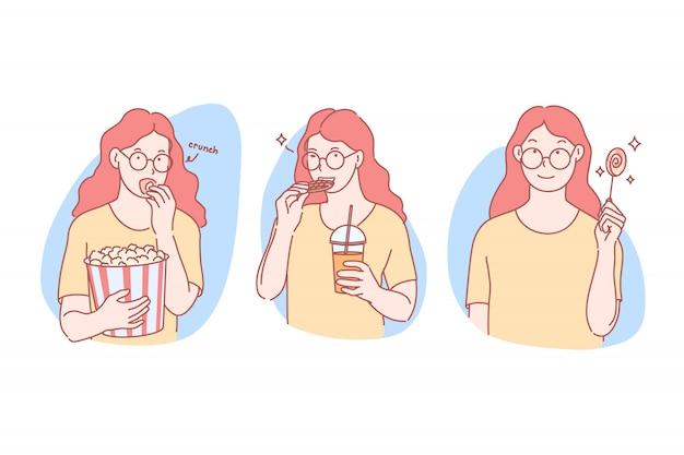 Сладости, нездоровая пища набор иллюстрации