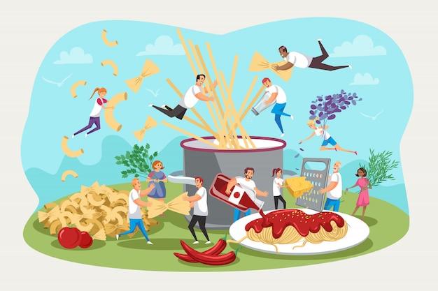 パスタ、キッチン、家族の集まり、料理のコンセプト。
