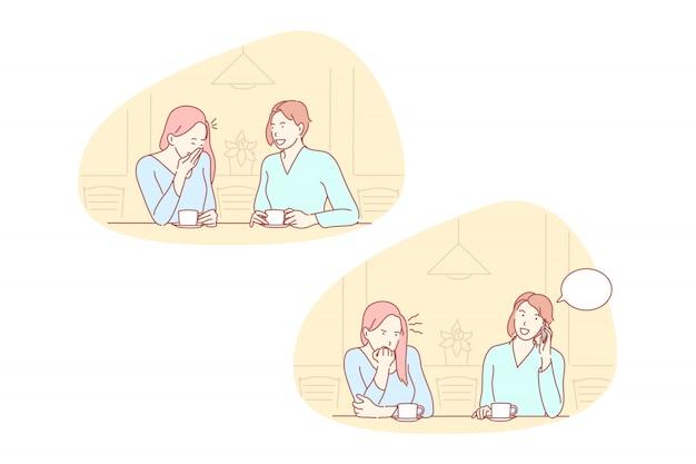 Дружба, ревность, невежливость набор иллюстраций