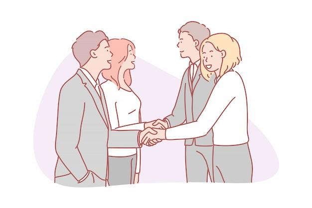 ビジネス、パートナーシップ、コラボレーション、チーム、契約の概念