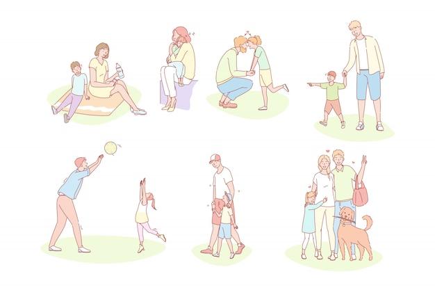家族、子供時代、父の日、母の日、愛セットのコンセプト