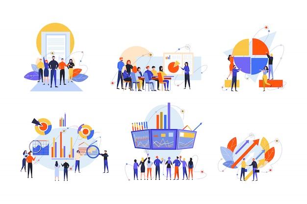 Фондовая торговля, заинтересованные стороны, инвестиции, анализ, концепция бизнес-набор