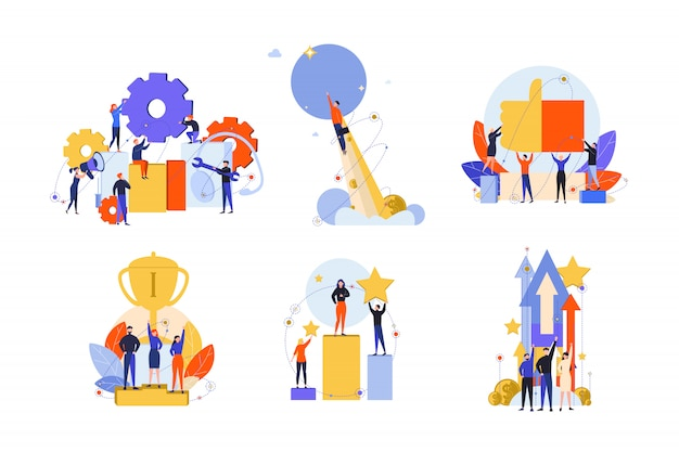 Превосходство, успех, мотивация, достижение, удовлетворение, победа, концепция набора инноваций