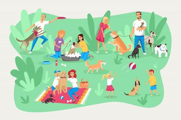 Домашние животные и владельцы, забота, ответственность, семейный набор.
