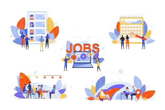 採用、人事管理、就職の面接、ビジネスセットコンセプト