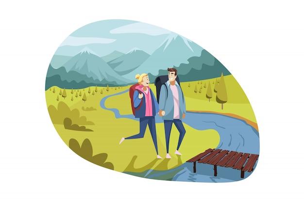 旅行カップル、観光、自然、ハイキングのコンセプト