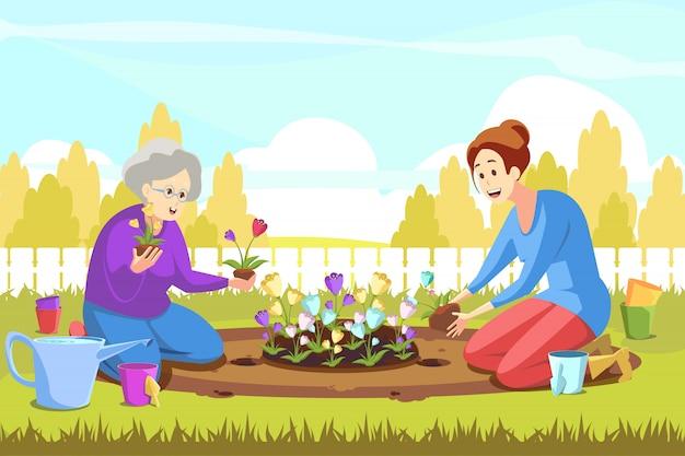 チームワーク、農業、ガーデニング、植栽、自然の概念