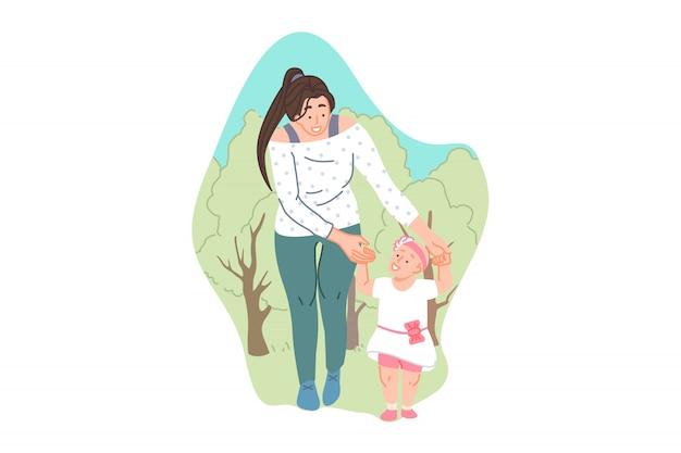 親のケアとサポート、保育、ベビーシッターのコンセプト
