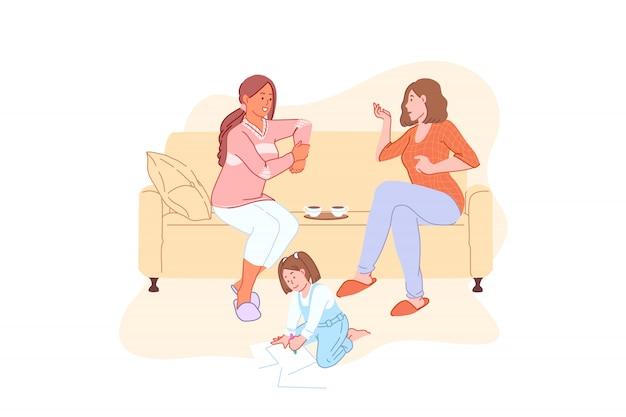 ホームレジャー、家族の週末、コミュニケーション、ティータイム、ランチタイムのコンセプト