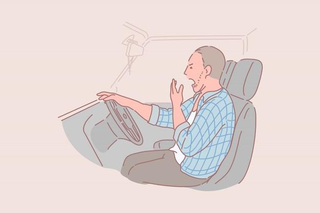Сонный, пьяный, усталый, концепция водителя грузовика