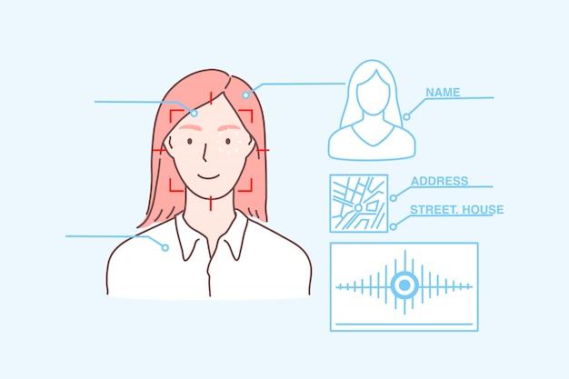 Защита данных, идентификация лица, биометрическое сканирование, концепция безопасности