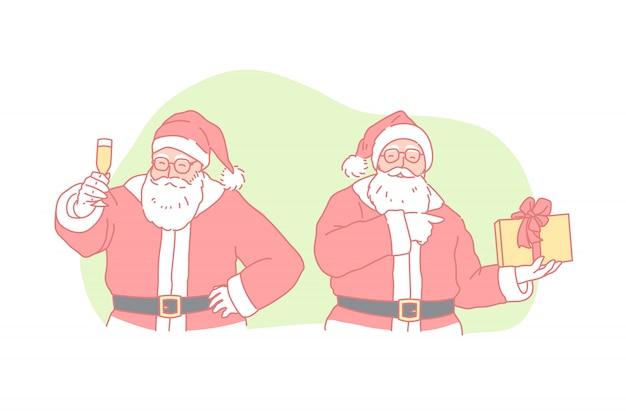 Рождество, новый год, праздник, концепция санта-клауса