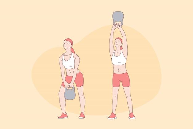 スポーツ体操、トレーニング、機能トレーニング、アクティブなライフスタイルコンセプト