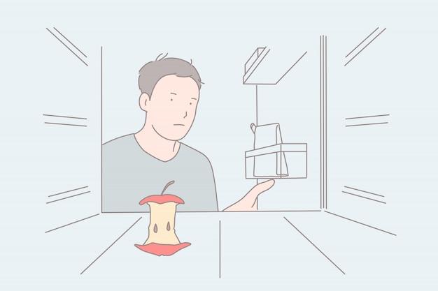 Строгая диета, пустой холодильник, концепция чувства голода