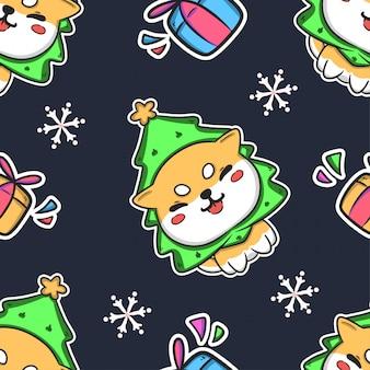 クリスマスかわいいシームレスパターン背景