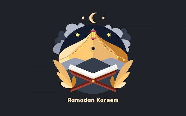 フラットイラストイスラムモスクラマダン夜