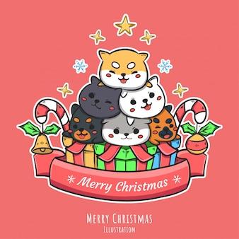 Симпатичные рождественские рисованной иллюстрации