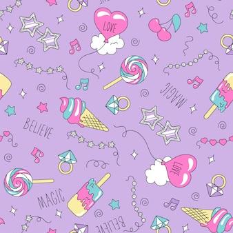 Искусство. рисунок для детской одежды или тканей. мода иллюстрация рисунок в современном стиле для одежды. мороженое и конфеты шаблон.