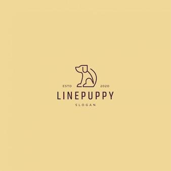Линия щенка логотип ретро винтаж
