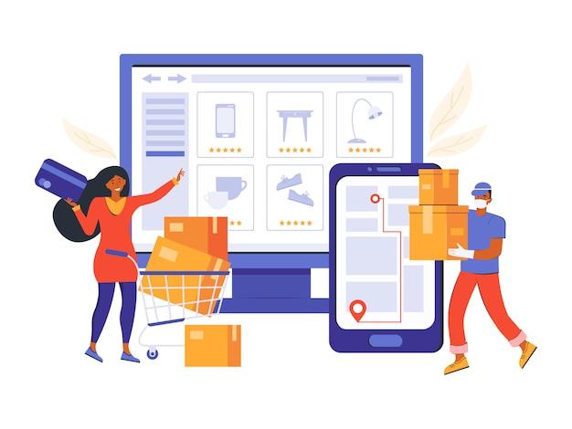 Онлайн заказ в интернет-магазине и бесконтактная доставка. интернет-магазины и электронная коммерция. женщина делает покупки на сайте. курьер в медицинской маске доставляет товар с помощью приложения «навигатор».