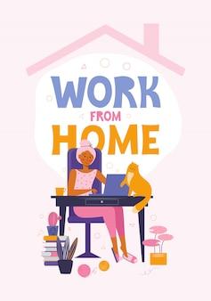 自宅の服を着たラップトップまたは彼女の家で働くフリーランスの女性。オンラインで自宅で過ごす時間とリモート作業。自分のための時間。検疫中の人々。フラットスタイルの図