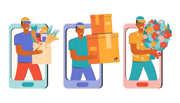 商品、商品、小包、花の宅配。モバイルアプリまたはオンラインストアを介したオンライン注文。男性の宅配便が注文を配達します。スマートフォンで購入。フラットイラストのセットです。