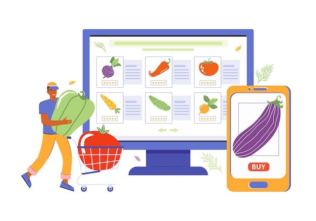 モバイルアプリとオンラインストアを使用した商品と食品のオンライン注文。男性キャラクターはウェブやスマートフォンで買い物をしています。新鮮野菜の販売。男は食料品のカートに食べ物を入れます。健康的な食事。