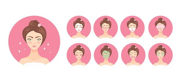 美しい女性は、化粧品の手順の助けを借りて彼女の顔の世話をします。顔と目のためのパッチとコラーゲンマスク。