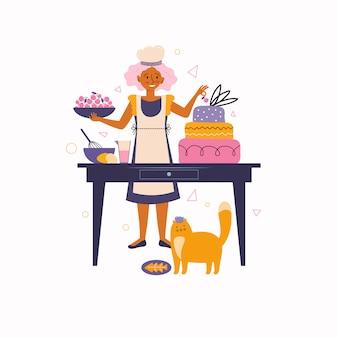 Молодая женщина украшает торт с вишней. домашняя выпечка и приготовление пищи. любимые занятия дома. проводить время дома