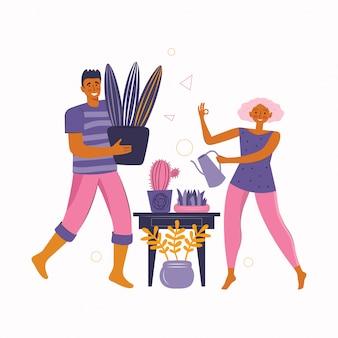 Мужчина и женщина проводят время вместе дома и занимаются домашними растениями. проводить время дома. счастливая семья проводит время вместе.