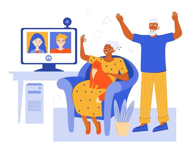 自宅でビデオチャットを介してオンラインで高齢者のカップル。アプリを使用して隔離された家族とのビデオ会議。老いた両親は子供たちと話します。自宅で時間を過ごす高齢者。ソーシャルネットワーク。