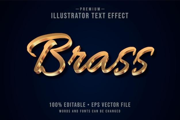 Латунный редактируемый трехмерный текстовый эффект или графический стиль с металлическим градиентом