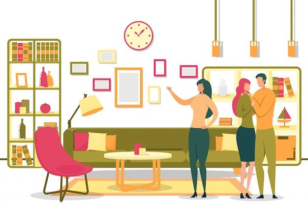 Мультфильм женщина риэлтор, показывая номер для счастливой пары