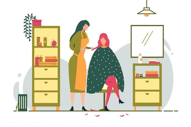 女の子は居心地の良い美容院でクライアントに散髪をします。