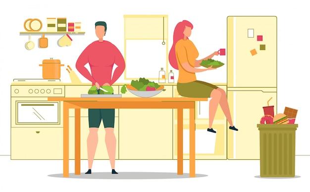 健康的なライフスタイルベジタリアン料理イラスト