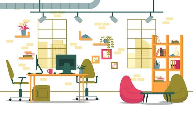 コワーキングセンターのビジネスオフィスのインテリア。
