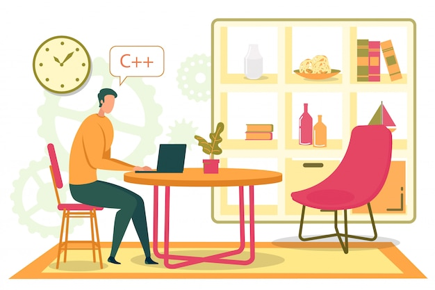 Программист, программист мультфильма, пишущий код дома