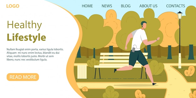 Городской гражданин здоровый образ жизни вектор веб-баннер