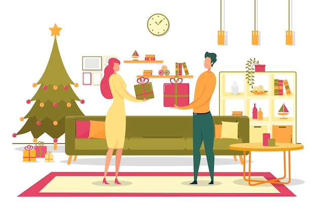 家族のクリスマスプレゼントを与えるフラットイラスト
