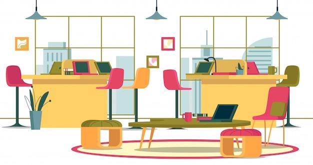 ビジネスインテリア広々としたオープンオフィス