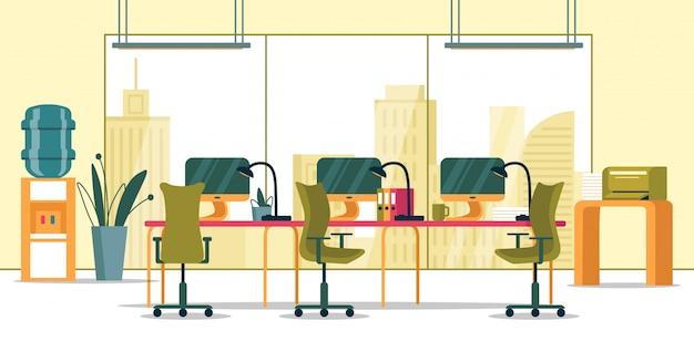 パノラマの窓とビジネスオフィスのインテリア。