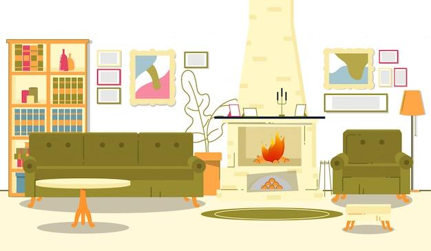 暖炉のあるフラットバナー美しい部屋インテリア。暖炉の部屋の火傷で、絵画が壁に掛かります。アパートにはソファとテーブルがあり、暖炉の隣には椅子とフロアランプがあります。