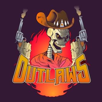 Злой череп, вооруженный двумя пистолетами иллюстрации