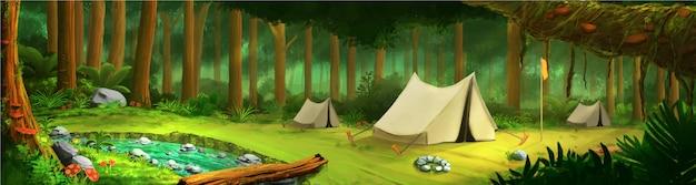 テントと川と緑の熱帯林の真ん中に風景します。
